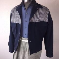 ELVIS Jacket Navy (Wool) & Gingham (Rayon)