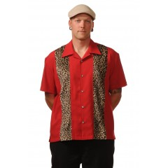 CHEMISE STEADY ROUGE PANEL LEOPARD