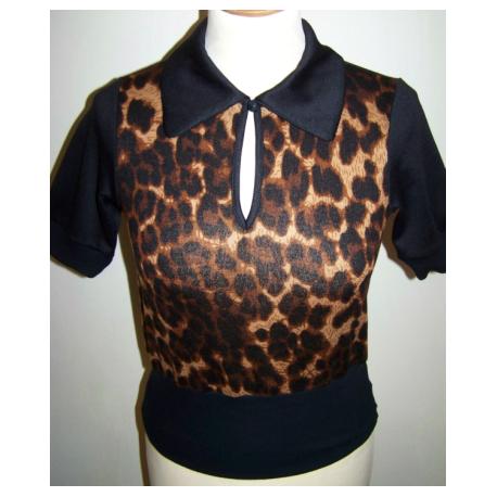 """TOP TARANTULA """"Peter Pan Collar Tee"""" - Leopard"""