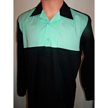 CHEMISE manches longues Two tone Black & Mint