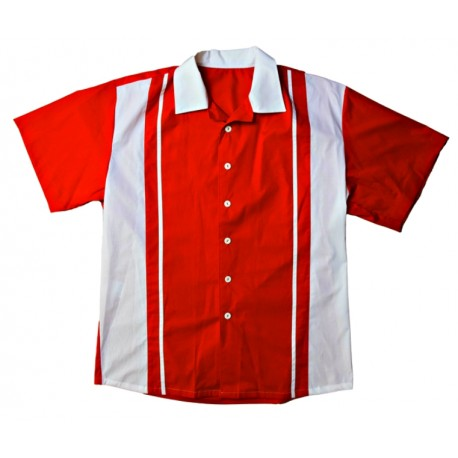 Retro Bowling  Shirt Red & White