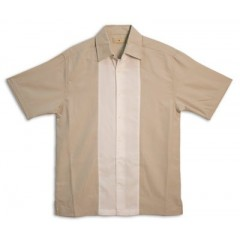 CHEMISE - CARIBBEAN CARRIACOU PANEL SHIRT - WHITE & KAHKI