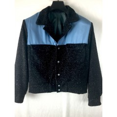 ELVIS Jacket Black & Blue Fleck (Wool) & Blue (Rayon)