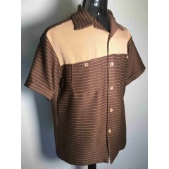 SWANKYS 2-Tone Brown Stripe Shirt