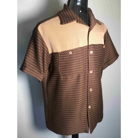 SWANKYS 2-Tone Brown Stripe Shirt