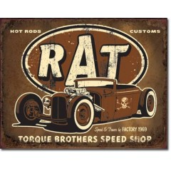 PLAQUE US TIN SIGN - TORQUE RAT ROD