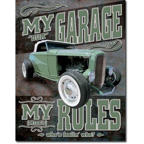 PLAQUE US TIN SIGN - MY GARAGE *