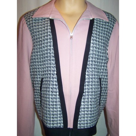 "VESTE ZIPPER ROCKABILLY "" ALBIE'S JACKET "" Pink / Black Tweed"