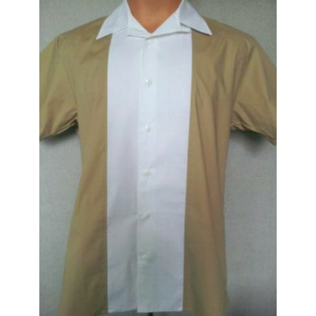 "CHEMISE - 50's Panel Shirt ""Tan & White"""
